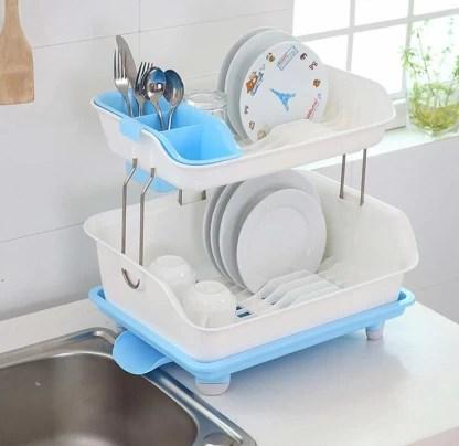 ddecora kitchen 2 layer sink dish plate drainer drying rack wash organizer with tray utensil holder basket blue dish drainer kitchen rack