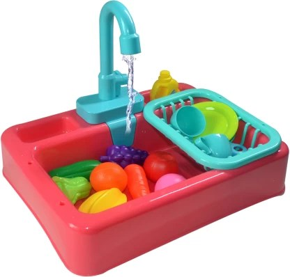 toy shack pretend play kitchen sink toys with vegetables and fruits electric dishwasher with automatic running water system wash up kitchen toys for