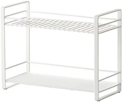 beyond collection metal 2 tier space saving spice storage organizer kitchen rack white containers kitchen rack