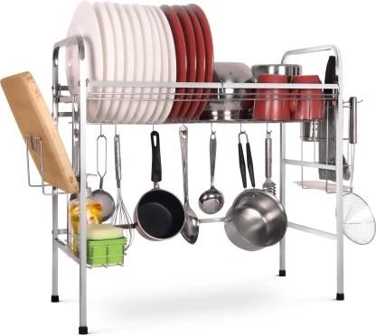 kurtzy stainless steel sink rack for kitchen dish drainer kitchen rack