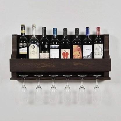 custom decor alvarado wine rack gloss holder wall mounted wine racks 8 bottles hangers for 6 wine glasses walnut wooden wall shelf