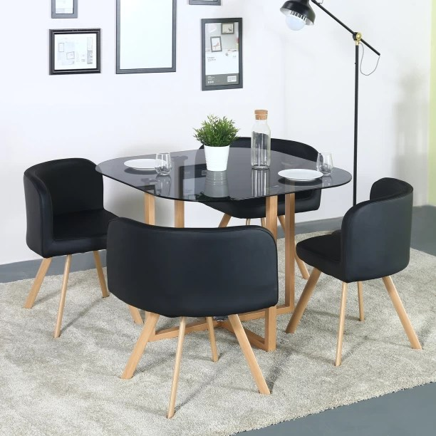 kitchen table sets commercial flooring epoxy dining and chairs designs online at best prices flipkart perfect homes atiu glass 4 seater set
