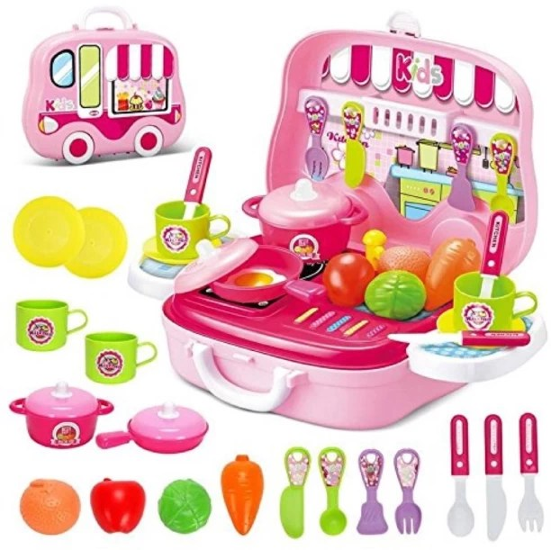 kids play kitchen sets reface depot set for buy online at best prices zest 4 toyz role playset toy pretend cooking kit food pink xmas
