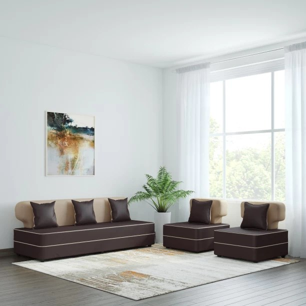living room designs with brown sofas traditional furniture ideas sofa set check स फ sets at flipkart bharat lifestyle butterfly leatherette 3 1 cream