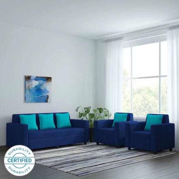 sofa set below 3000 in hyderabad yellow chair check स फ sets designs at flipkart furniture bharat lifestyle desy fabric 3 1 blue
