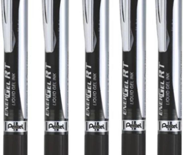 Pentel Energel Rt Liquid Gel Black Ink Medium Point Pack Of5 Gel