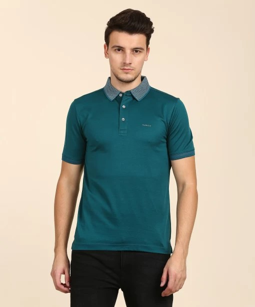 Van heusen solid men polo neck green  shirt also tshirts buy online at best prices in rh flipkart