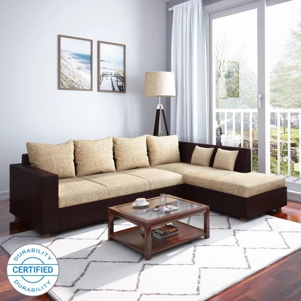 l shape sofa set designs in delhi pull out bed with air mattress shaped sofas sectionals buy online at flipkart perfect homes porto fabric 4 seater