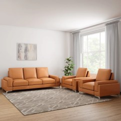 Leather Sofa Sets For Living Room Decorating Ideas Small Spaces Sofas Buy Online At Best Prices In India Nowliving Williams 3 1 Tan Set