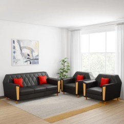 Sofa Set Designs For Living Room India Decorative Wall Hangings Leatherette Sets Online At Best Prices In Kurlon Crescent 3 1 Black
