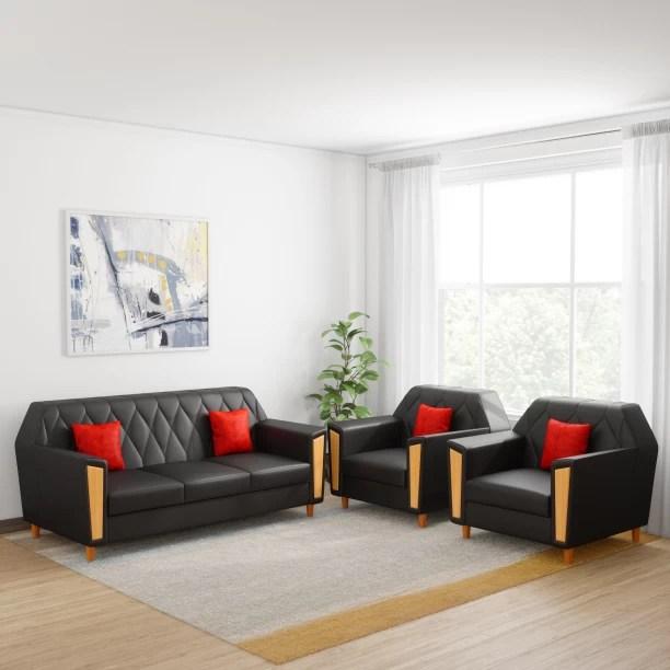 sofa set living room what size rug under furniture check स फ sets designs at flipkart kurlon crescent leatherette 3 1 black