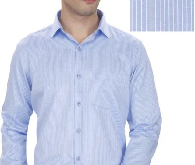 Enf Mens Striped Formal Light Blue Shirt