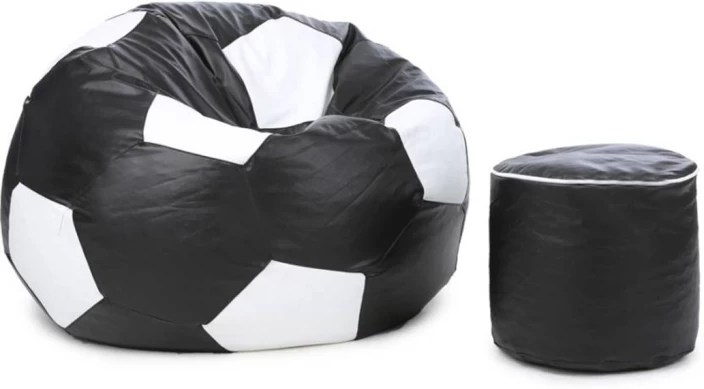 classy bean bag chairs upholstered parsons mofaro xxxl football with stylish foot stool filling multicolor
