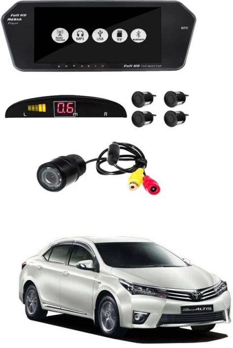 new corolla altis video all camry headlightmag ayw 7 inches car rear view full hd touch mirror mount screen with camera and black sensors for toyota white led 18 cm