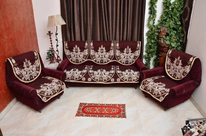 sofa cover cloth rate side table ikea creative homes cotton price in india buy maroon pack of 6