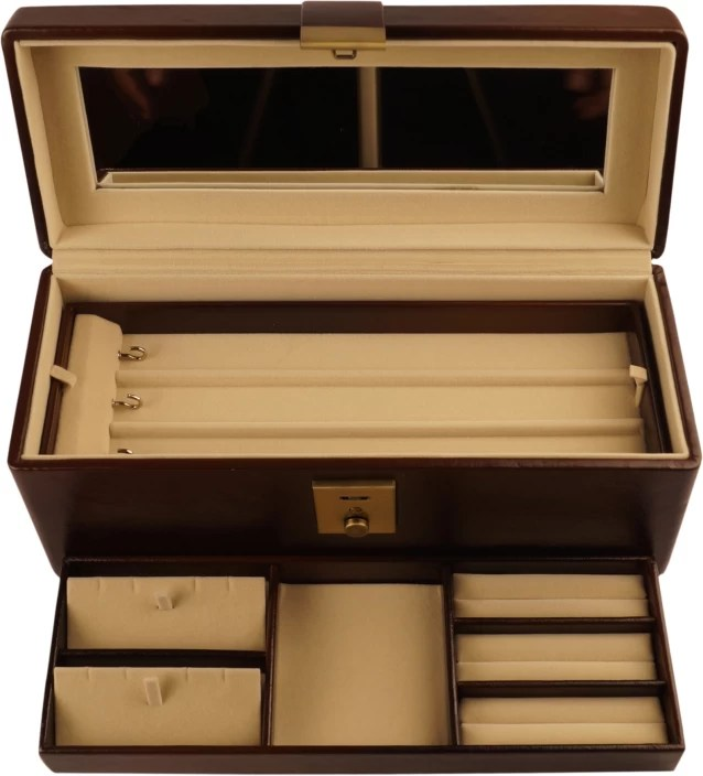 Platinum Cosmetic Box With Lock Makeup And Jewellery Vanity Case