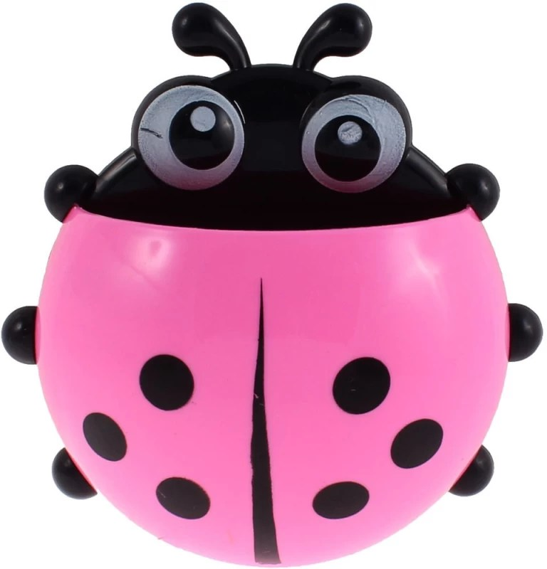 Shopo Ladybird Design Suction Cup Plastic Toothbrush Holder(Pink, Wall Mount)