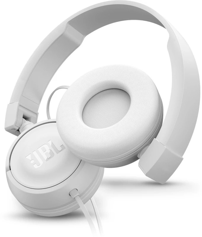 JBL T450 PureBass Headset with Mic(White, On the Ear)