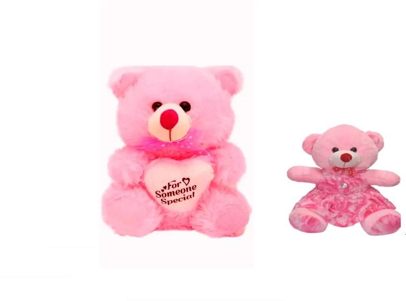 Kt Kashish Toys Pink Soft Teddy bear 70 Cm & Pick Cute Doll 30 Cm Combo Offer . - 11 cm(Pink)