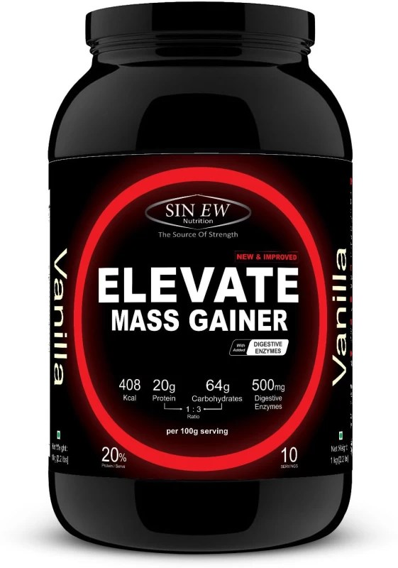 Sinew Nutrition Elevate Mass Gainer 1 kg (Vanilla) Mass Gainers(1 kg, Vanilla)