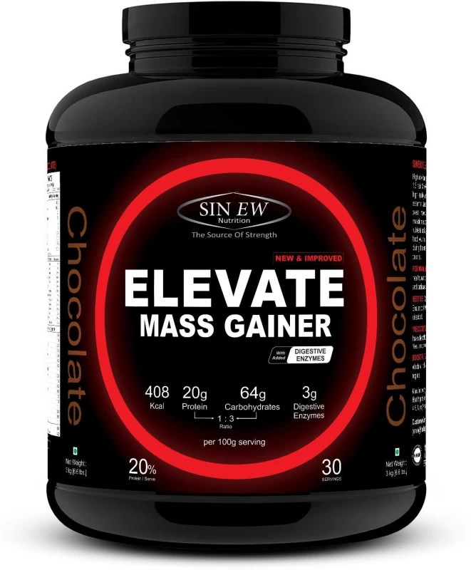 Sinew Nutrition Elevate Mass Gainer 3 Kg (Chocolate) Mass Gainers(3 kg, Chocolate)