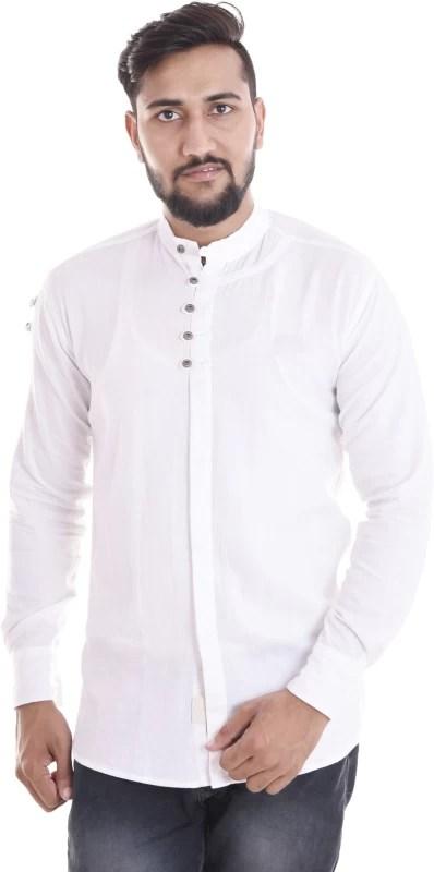 VERO LIE Men Solid Casual White Shirt