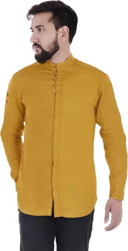 VERO LIE Men's Solid Casual Yellow Shirt