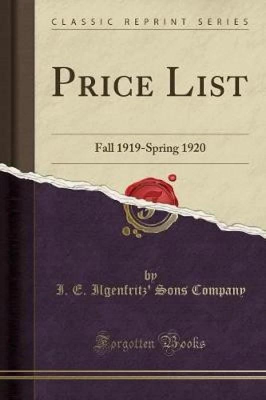 Price List(English, Paperback, Company I E Ilgenfritz)
