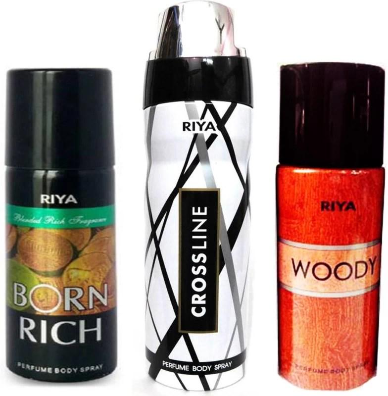 Riya 1 BORN RICH DEODORANT 150ML+ 1 CROSS LINE DEODORENT 200ML+ 1 WOODY DEODORENT 150ML Deodorant Spray - For Men & Women(150 ml, Pack of 3)