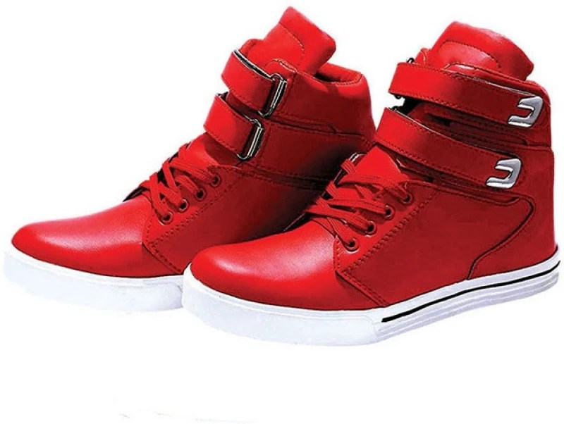 Hush Berry Latest Designer High Ankle Sneakers For Men(Red)