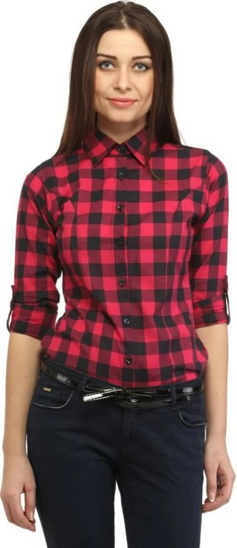 Dream Girl Women's Checkered Casual Red Shirt
