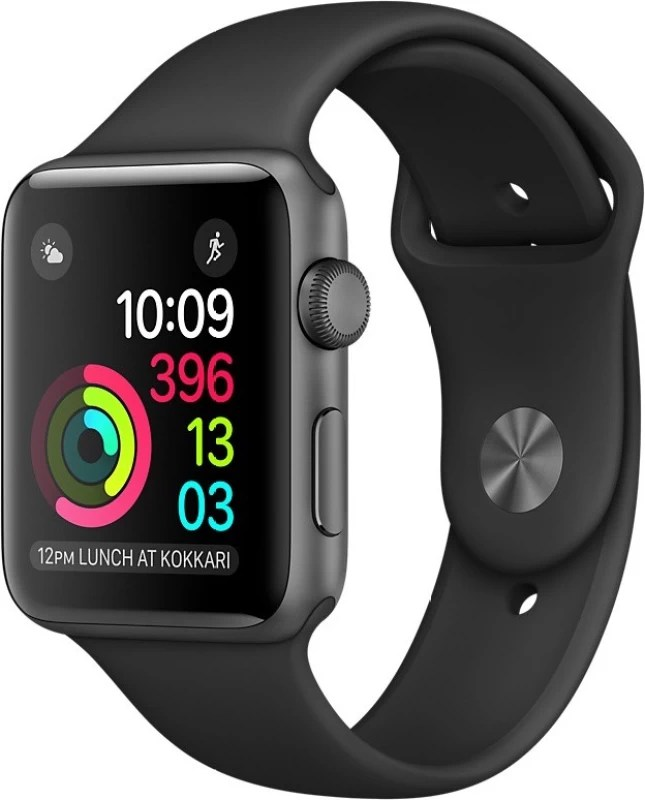 Apple Watch Series 1 - 42 mm Space Grey Aluminium Case with Black Sport Band(Black Strap Medium)