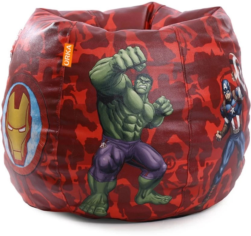 avengers bean bag chair wedding covers lake district orka xl marvel digital printed with filling red blue