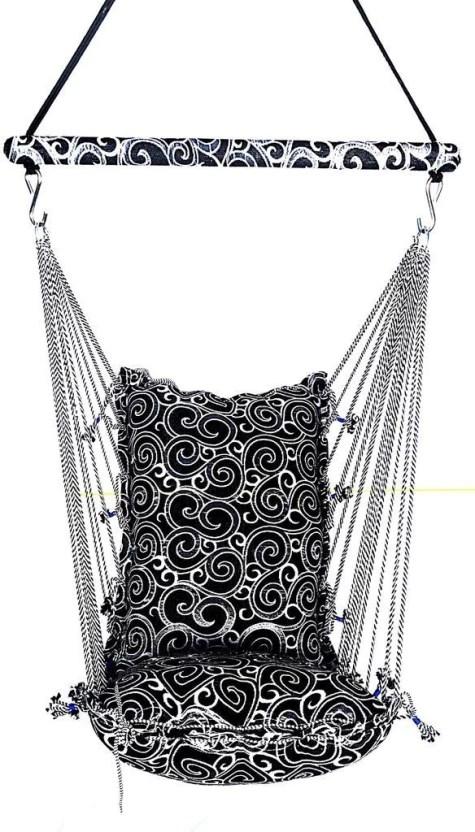hanging chair flipkart american doll kkriya maarketing washable cotton swing price in black white