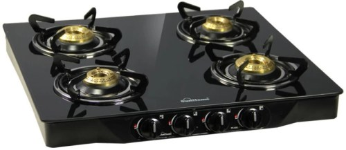 Sunflame Pearl 4 Burner Glass Top Stainless Steel, Glass Manual Gas Stove