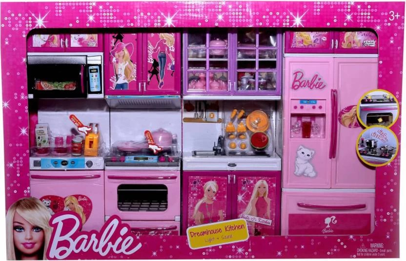barbie kitchen playset epoxy commercial flooring techhark set kids luxury battery operated super toy multi color pink
