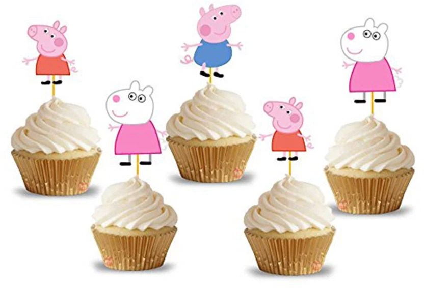 Party Propz Multicolor Cup Cake Topper 14pcs Peppa Pig Birthday Decoration Peppa Pig Party Supplies 14 G