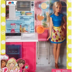 Barbie Kitchen Playset Jcpenney Rugs Grapple Deals Doll Play Set With Station And Accessories For Kids