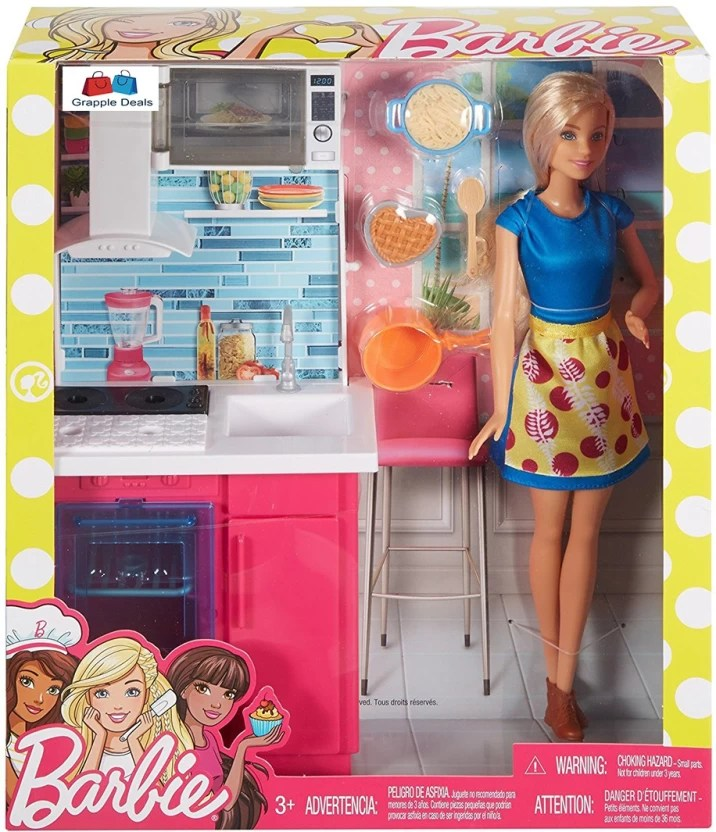 barbie kitchen playset green countertops grapple deals doll play set with station and accessories for kids