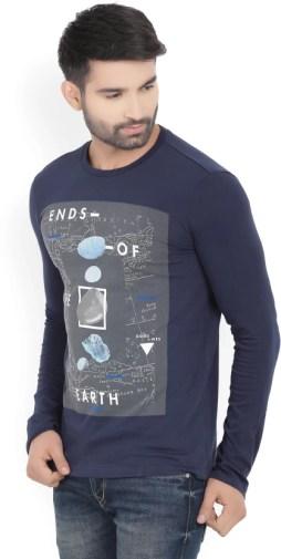 United Colors of Benetton Printed Men's Round Neck Dark Blue T-Shirt