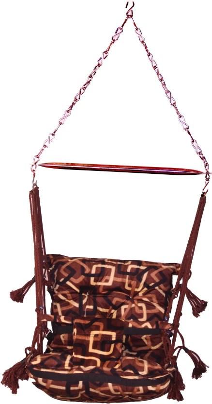 hanging chair flipkart wooden restaurant chairs porwal kids hammock steel cotton swing price in india brown black