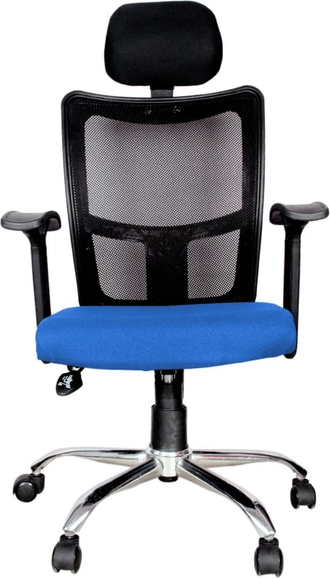 revolving chair mechanism wicker target rajpura brio high back with headrest and push in blue fabric black mesh net office executive