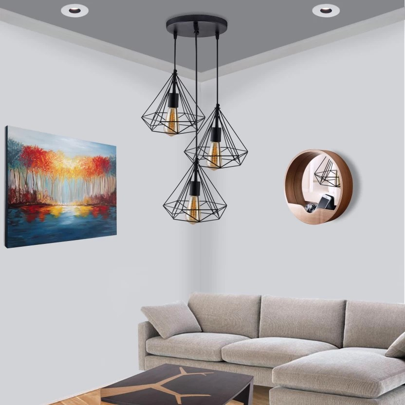 hanging ceiling lights for living room india large floor mirrors homesake 3 round cluster chandelier black diamond pendant light with braided cord