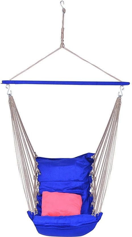 hanging chair flipkart wicker chaise lounge chairs ira velvet cotton adult swings hammock with cushion wooden swing brown