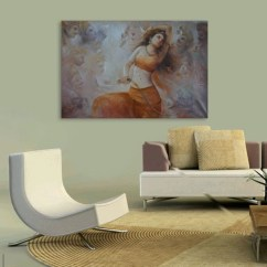 Wall Painting For Living Room India Decorate Around Black Sofa Inephos Unframed Canvas Beautiful Indian Women Art Bedroom