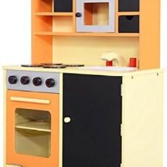 Kids Wood Kitchen Island Costzon Toy Cooking Pretend Play Set Toddler Wooden Playset