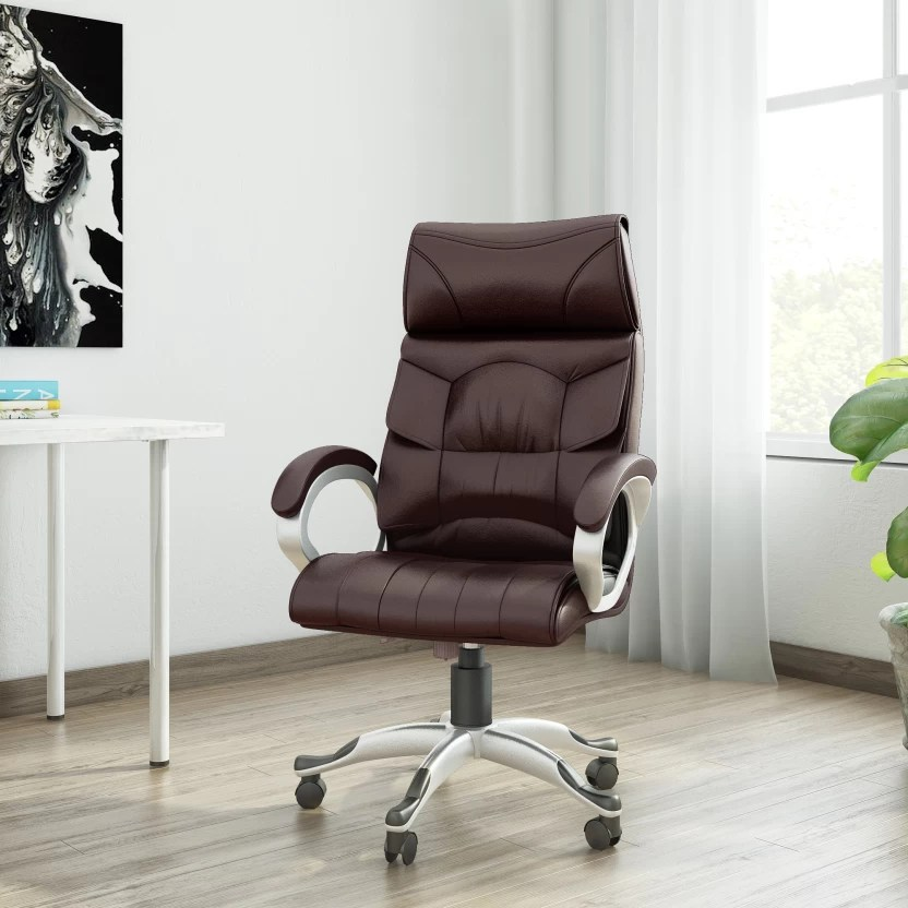 revolving chair gst rate covers and sashes essex vj interior leatherette office arm price in india buy brown