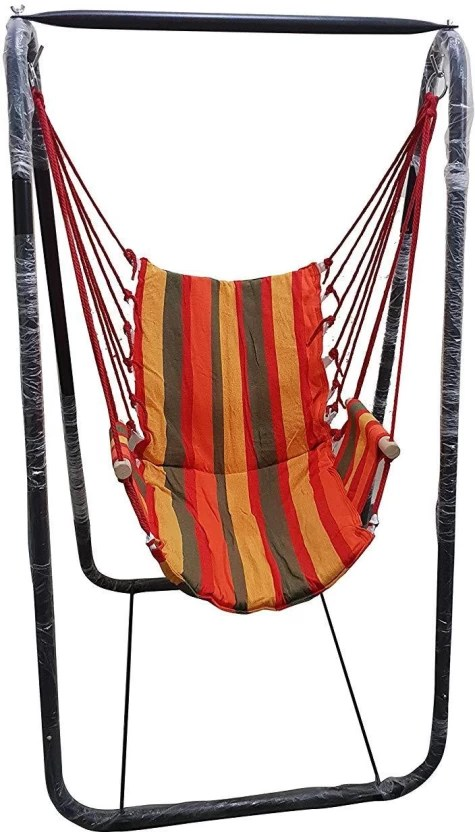 hanging chair flipkart valletta swing with stand inditradition hammock heavy duty metal 155 cm frame cotton fabric multicolor