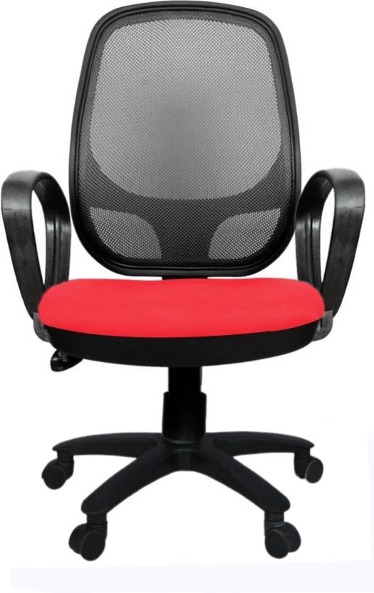 revolving chair base price in india linen tufted dining rajpura 802 medium back with pp red fabric and black mesh net office executive