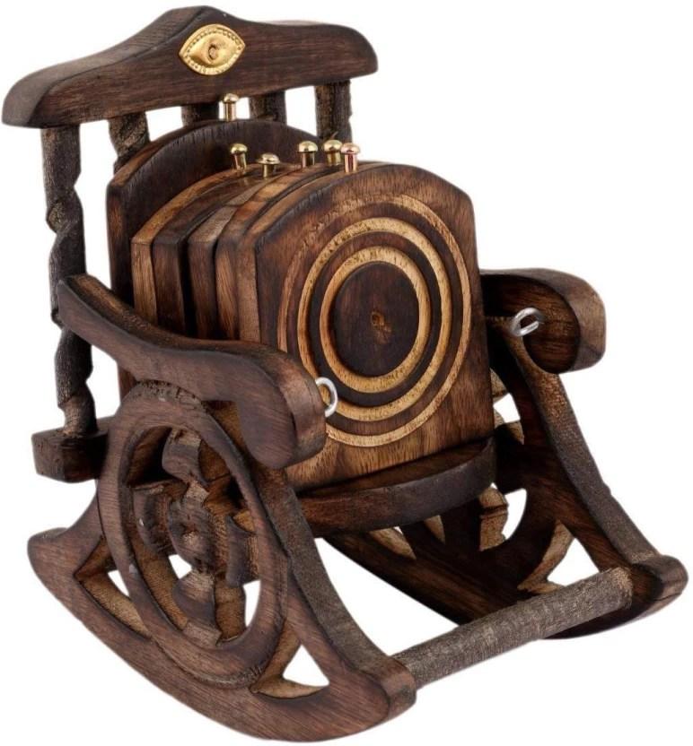 chair design antique fisher price 4 in 1 high saarthi wooden beautiful miniature rocking tea coffee coaster set decorative showpiece 15 6 cm wood
